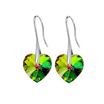 BAFFIN Drop Earrings Hanging Hearts Crystals From Swarovski For Women Party Hot  - $13.47