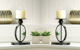 2  Pillar Candle Holder Stands Modern Black Single Circle Mirrored - $37.45