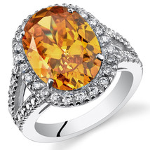 Women's Sterling Silver Oval Halo Golden Orange Citrine Cocktail Ring - $229.99