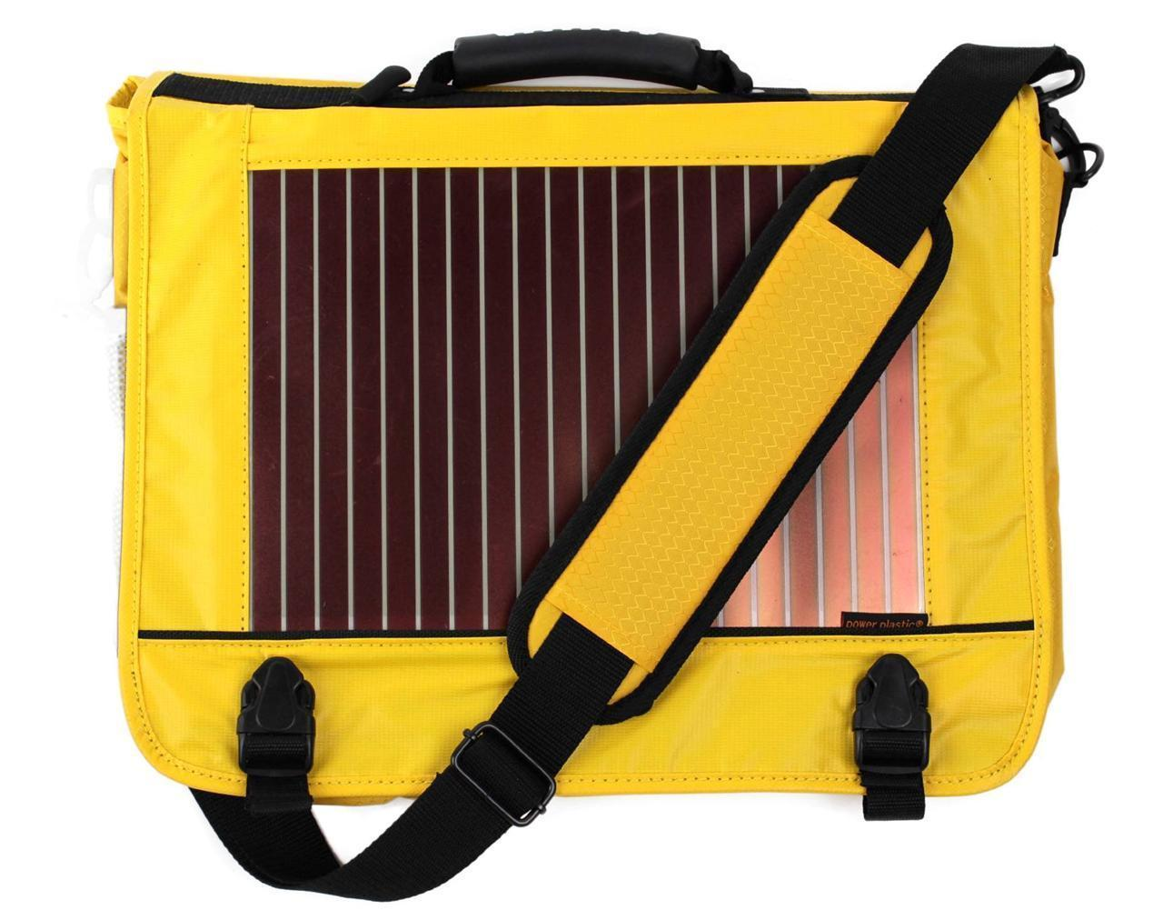 NEW ECO TRAVELER SOLAR PANEL LAPTOP BOOKS MESSENGER SHOULDER BAG YELLOW ET0120Y