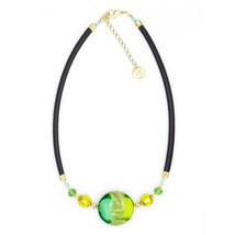 MILENA Necklace Circle Green Murano Glass - $73.00