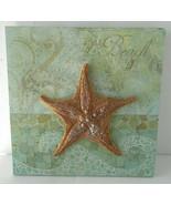 """Starfish Beach Motif 3D ArtWork 8"""" X 8"""" Beach Sea Scape - $17.81"""