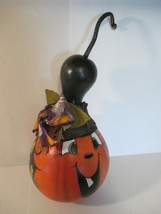 Halloween Dried Gourd Hand Painted Pumpkin Face Haunted House - $16.82