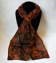 Hand Painted Silk Scarf Rust Brown Copper Black Womens Leopard Print Uni... - $56.00