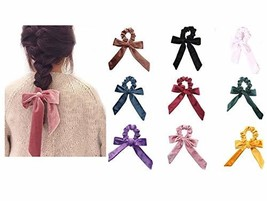 9-pack Velvet Scrunchies Elastic Hair Band Bow Hair Ropes Girls Hair Tie... - $17.85