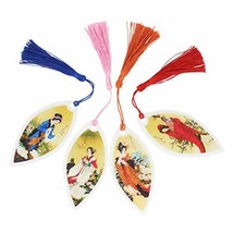 4 Pieces Handmade Leaf Vein Bookmarks Chinese Paintings The 4 Beauties in Ancien