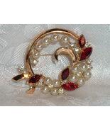 Vintage Crown Trifari Designer Philippe Gold Tone Rhinestone & Pearl Bro... - $69.85