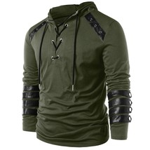 Faux Leather Lace Up Hoodie(ARMY GREEN 2XL) - $33.39