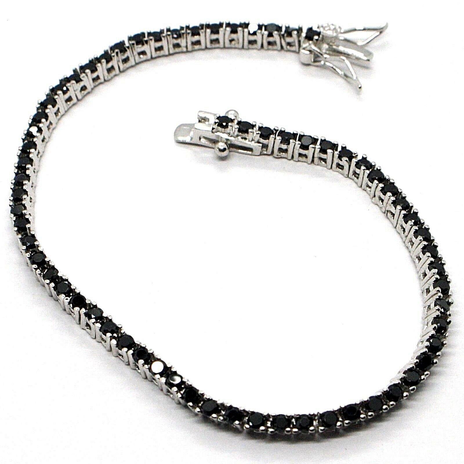 Bracelet Tennis, Argent 925, Zirconia Cubique Noirs, Taille Brillant, 2 MM