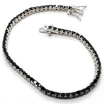 Bracelet Tennis, Argent 925, Zirconia Cubique Noirs, Taille Brillant, 2 MM image 1