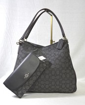 "NWT Coach F36424 Signature ""C' Fabric & Leather Phoebe Shoulder Bag Blac... - $199.00"