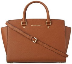 Michael Kors Selma Large Luggage Saffiano Leather Satchel Bag Crossbody Nwt - $258.00