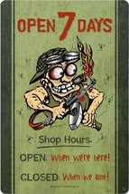 Open 7 Days Mechanic Metal Sign - $29.95