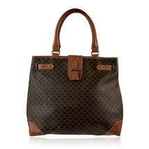Authentic Celine Vintage Brown Macadam Canvas Tote Handbag Shopper - $222.75