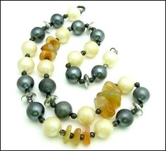 GRAY and FAUX PEARL Vintage NECKLACE Beads & Polished  BROWN STONES Plastic - $12.99