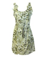 Ann Taylor LOFT  Size 2  Olive Green Animal Print Silky Dress w/Ruffles - $12.19