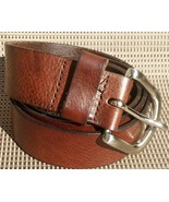 Men's Genuine Leather Belt Dark Tobacco Brown Sz. Extra Large w Nickel H... - $29.99