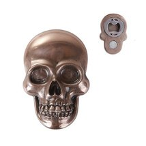 Bronze Resin Skull Fridge Magnet Bottle Opener Collectible Figurine - $13.00