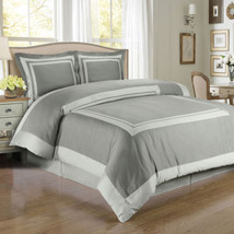 Luxury Grey & Light Grey Combed Cotton Hotel Duvet Cover Bedding Set - A... - $75.99+