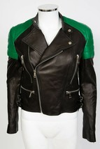 Ralph Lauren Black Label Qulited Lambskin Leather Biker Moto Jacket sz 2 4 - $593.75