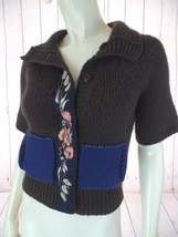 Field Flower Anthropologie Sweater XS Brown Wool Acrylic Blend Snap Front - $44.55