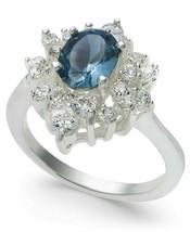 Charter Club Silver-Tone Blue Sapphire Cubic Zirconia Oval Halo Ring, Size 9 NIB