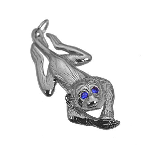 Monkey Hanging around Sapphire eyes Real Sterling Silver 925 Jewelry Charm New