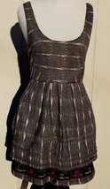 Free People Sz 4 S Sleeveless Dress Layered Embroidered Cotton Gray Trib... - $23.74