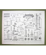 PHYSICS Theory Screw Windlas Inclined Press Gravity - 1870s Print Engraving - $17.28
