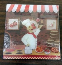 """Glass Cutting Board / Trivet, Square, Fat Chef With Wine, Approx 8"""" X 8"""" - $10.88"""