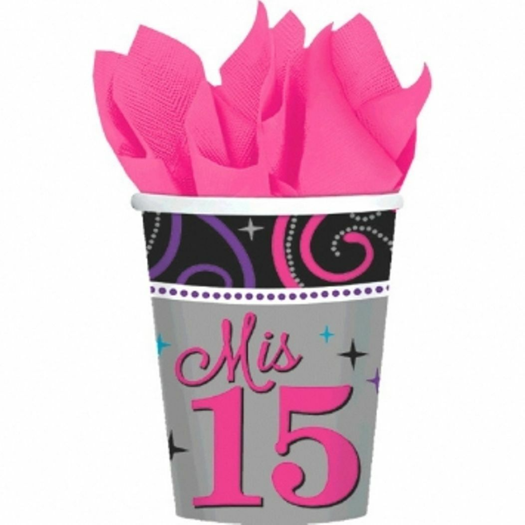 Mis Quince Anos 8 9 oz Paper Hot Cold Cups Quinceanera Sweet 15