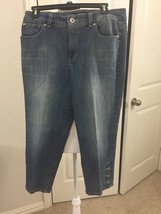 Women NINE WEST  Sz 12 denim cropped capri jeans medium wash mid-rise Bu... - $9.99