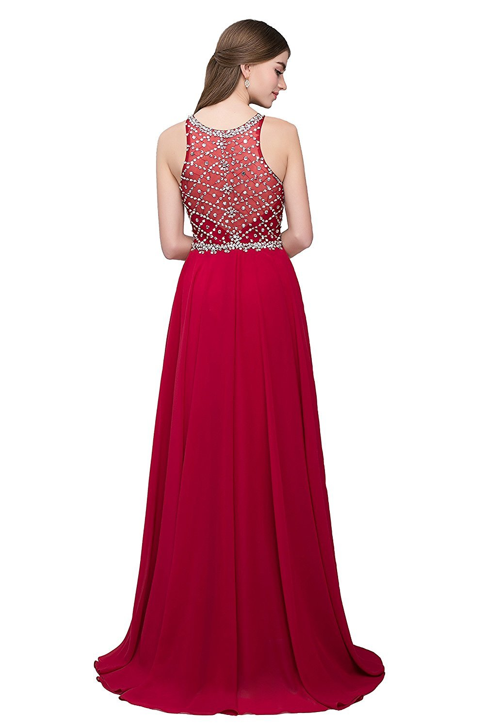 Women's Scoop Neckline Beaded Evening Gown Long Chiffon Red Prom Dresses 2018