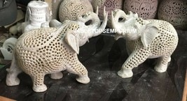 "7"" Hand Carved Marble Elephant Lattice Hand Carving Work Show Piece Gift... - $601.53"
