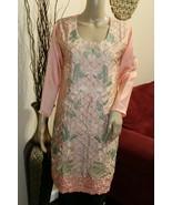 Peach Pakistani Silk Kurta Embroidery, Fancy Thread work & Rhinestones M... - $59.40