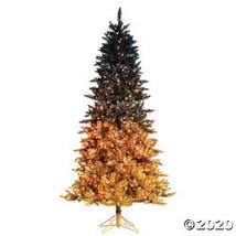"Vickerman 9' x 57"" Black Gold Christmas Tree with Clear Lights - $593.73"