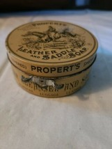 Vintage Propert's Leather & Saddle Soap Tin England has Cloth and Soap image 2