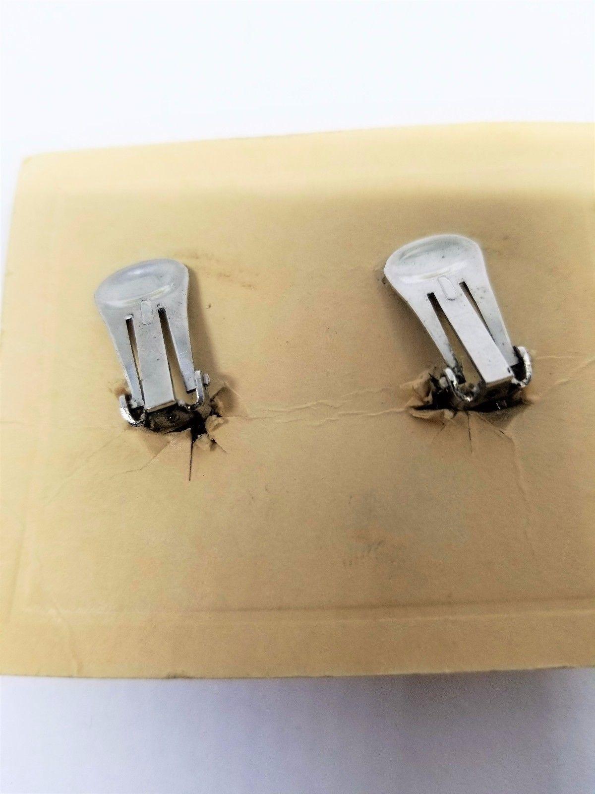Abstract Rhinestone Earrings Hand Set Rhodium Finish Clip On Vintage
