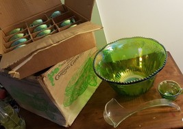 Indiana Grape Harvest Princess GREEN Carnival 1970's Punch Set Bowl & 12... - $59.35