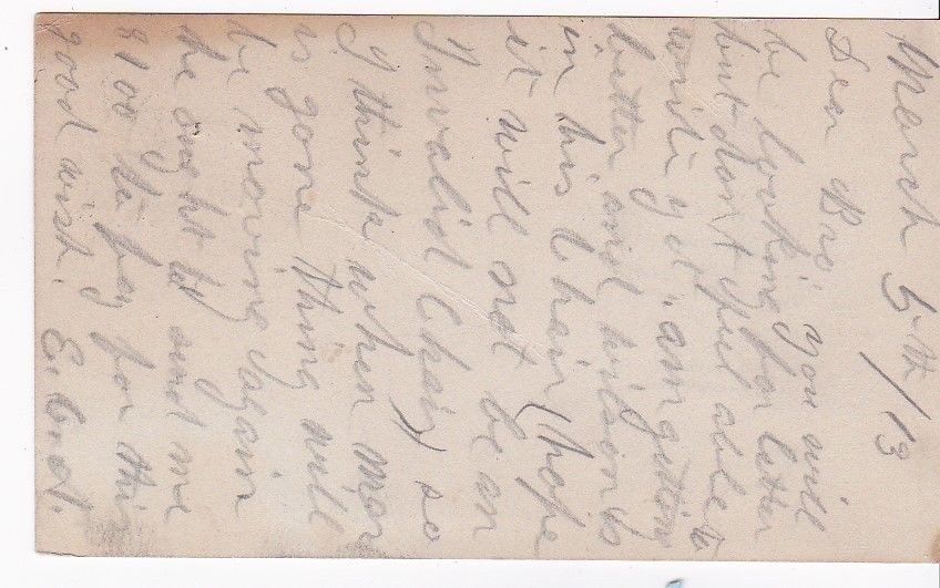 CANTON, PA MARCH 5, 1913 ON 1C McKINLEY POSTAL CARD