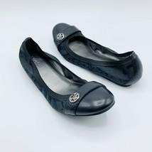 "Coach Womens Sz 7.5 Flats ""Chelsey"" Black Fabric Elastic Silver Logo - $34.99"