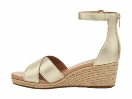 UGG Eugenia Gold Women's Leather Ankle Strap Wedge Sandals 1119732 - $96.00