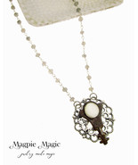 Heritage Drop Necklace: vintage button & key, silver filigree disc, rosa... - $15.00