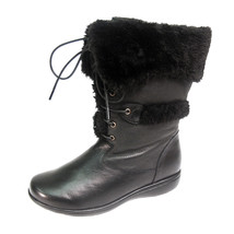 PEERAGE Carly Women Wide Width Leather Lace and Zip Mid Calf Boots - $116.95