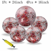 Omigga 5 Pieces Glitter Beach Ball Inflatable Confetti Beach Ball, 1 Pcs... - $24.30