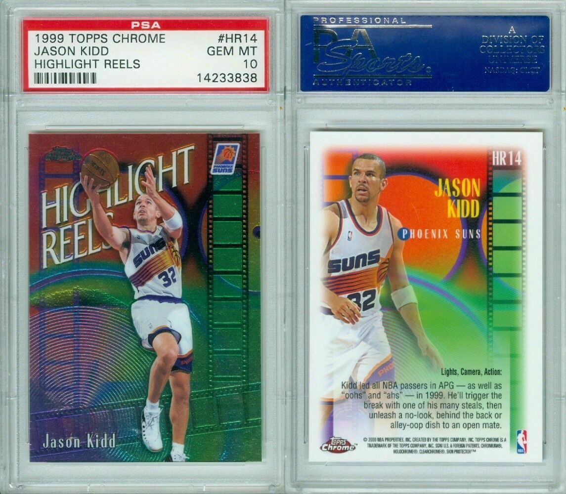 Primary image for 1999-00 TOPPS CHROME HIGHLIGHT REELS #HR14  JASON KIDD  PSA 10 GEM-MT POP 3!