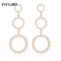VIVILADY Bohemia Simulated Pearl Dangle Drop Earrings Women Gold Color R... - $9.09