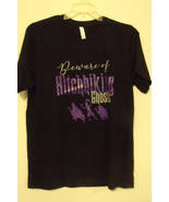 Womens New Canvas Black T Shirt Disney Beware of Hitchhiking Ghost Size L - $14.95