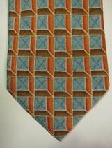 NEW Ermenegildo Zegna Teal Blue With Orange Lattice Silk Tie Italy - $67.08