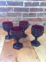 4 AVON RUBY RED 1876 CAPE COD COLLECTION WATER GOBLETS Vintage - $14.01